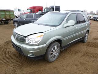 2004 Buick Rendezvous Ultra AWD c/w 3.6L, A/T, A/C, Showing 251,499 Kms, Fully Loaded, Leather, Heads Up Display, 255/60R17 Tires at 30%, VIN 3G5DB03784S567082 *Note: Engine Light On, Alternator Issues, Runs Rough*