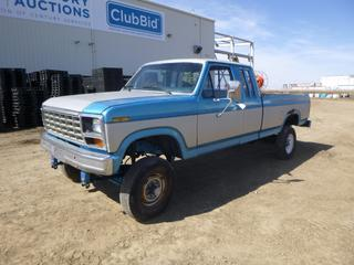 1986 Ford F-250 Extended Cab 4X4 Pick Up c/w 7.5L, Showing 378,075 Kms, A/C, Manual Hub, Dual Fuel Tanks, 460 ci w/ .020 ov w-cam, 10-1 Comp, C6 w/ Shift Kit, NP205, D60 - D70, 4:10 Gears, Air Bags, LT215/85R16 Tires at 40%, VIN 1FTHX25L4GKB14286 *Note: Ignition Gone, Wire For Push Button, Rear End Is Shot, Rear Driveshaft Removed and In Box, Damage and Rust*