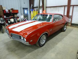 1969 Oldsmobile 442 c/w 400, A/T, Leather, Showing 47,096 Miles, Billet Aluminum Rims, Newer Carb, Updated MSD Ignition, P215/70R15 Front Tires at 70%, P275/60R15 Rear Tires at 70%, VIN 3448791133645