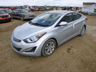 2014 Hyundai Elantra c/w DOHC 16V, A/T, A/C, Showing 111,116 Kms, 205/55R16 Tires at 40%, Rears at 50%, VIN 5NPDH4AE8EH458990 *Note: Battery Light On*