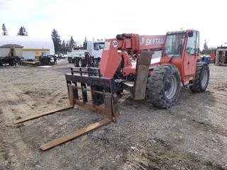 """2006 SkyTrak 10054 Telehandler, Cummins 4.5L/QSB4.5 110 Hp, Four Wheel/Crab Steer, Leveling Frame, 4 Section Boom, 10,000lb. Max Reach 38', Max Height 53', 60"""" Forks. Showing 4951 Hrs. SN 0160015024."""
