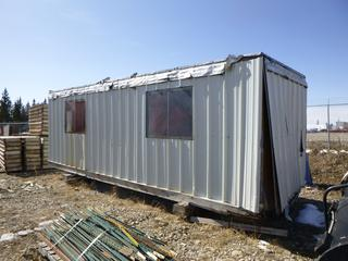 Site Shack 24' x 8'. (Contents Not Included) *CRACKED FRAME, NEEDS MAJOR REPAIR*