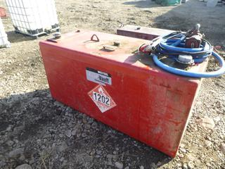 "Westeel 227 Gallon Diesel Flat Top Service Tank c/w Pump and Nozzle, SN 671207062, 68"" x 29"" x 32""."