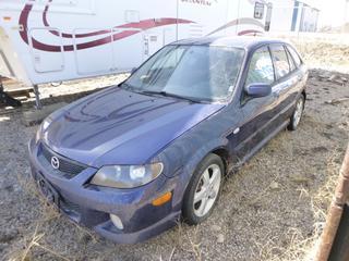 2003 Mazda Protege 5 Car c/w 2.0L V6, 5 Speed, AC, 195/50R16 (30%), VIN JM1BJ245331153834. **Rust on Body**