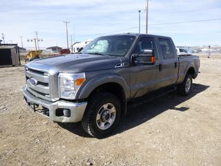 2012 Ford F250 XLT Super Duty 4x4 Crew Cab P/U c/w 6.2L Gas, Auto, A/C, 275/70R18 (30%), Showing 237,425 Kms, VIN 1FTW2B61CEA27063. **Damage to Body/Box, Check Rear Park Aid Message**