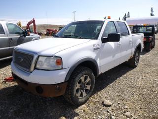 2008 Ford F150 FX4 4x4 Crew Cab P/U c/w 5.4L Triton, Auto, A/C, 275/65R18 (10%), Showing 408,993 Kms, VIN 1FTPW14V78FC30832. **Starts w/Boost, ABS Light On, Rear Window Broken (to be replaced as per owner)**