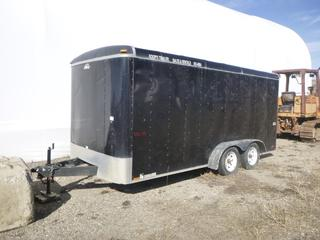 """2008 Cargo Mate Utility Trailer 16'6"""" x 7', c/w T/A, Spring Susp, 2 5/16 Ball, 205/75R15. VIN 5NHUBL6238T416296 *DAMAGE - CONTENTS NOT INCLUDED*"""