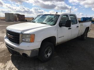 2007 GMC 2500 HD Crew Cab P/U c/w V8 6.0L Gas, Auto, A/C, Showing 206687 Kms. VIN 1GTHC23K37F510983.