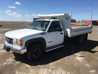 1998 GMC 3500 Sierra 4x4 Landscape Truck c/w V8 Turbo Diesel, 5 Spd, A/C, Hoist, 7'x10' Landscape Box, 77,830 kms, VIN 1GDJK34F7WF056419.