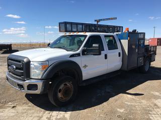 2012 Ford F450 Super Duty Crew Cab Service Truck c/w 6.7L V8 Turbo Diesel, Auto, A/C, Deck, (9) Locking Storage Boxes, Roof Rack, Showing 264,720 Kms, VIN 1FD9W4GT4CEB63931.