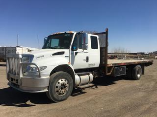 2012 International Durastar S/A Extended Cab Deck Truck c/w DT466, Auto, A/C, 11R22.5 Tires, Showing 7058 Hours. VIN 1HTMMAAP0CH586506