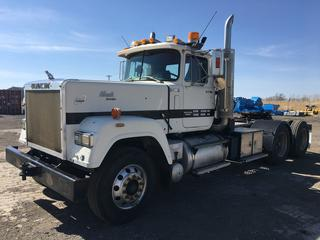 1987 Mack Superliner T/A Truck Tractor c/w E9-500, Fuller 18 Spd, A/C, Wet Kit, Air Ride Susp., Tool Boxes On Both Sides, Showing 14733 Miles, VIN 2M2AY40Y3HC002206.