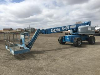 2001 Genie S65 Boom Lift Showing 4877 Hours, S/N S60-7449