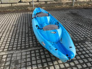 Pelican 13 foot 2 person sit-in Kayak with padded back rest c/w Paddles.