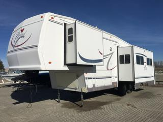 2003 Forest River Cardinal Model LE 312BH Fifth Wheel Holiday Trailer with Artic Pack, A/C, Sleeps 8, Private Kids Bunk House, Queen-Sized Master with under bed storage. 3 piece Bath w/Shower, Basement pass thru storage w/access from front bunk,  VIN 4X4FCAG2X3G079388.