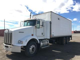 2000 Kenworth T/A Van Body Truck c/w Cat C-10 Engine, 276 HP, Webasto Engine Heater, 10 Spd Eaton Fuller, 22 Ft. Insulated Box, Espar Box Heater w/Charger & Batteries, 5443 KG Front Axle, 40,000 Lbs Rear Axle, Roll Up Aluminum Back Door, Side Door w/Step Up. VIN 1XKDDT9X1YJ959943