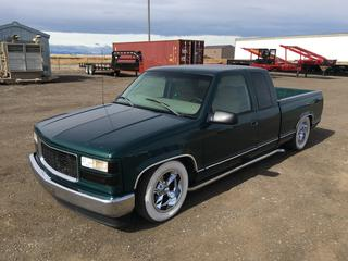 """1998 GMC Sierra Low Rider P/U c/w V8 Gas, Auto, A/C, Custom 6"""" Drop Via Axle Flip Out Back, Shortened Springs Up Front, Cold Air Intake, Side Pipe, Custom Shifter, VIN 2GTEC19R7W1519676"""