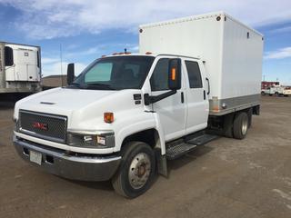 2005 GMC C5500 Crew Cab S/A Van Body Truck c/w Duramax 6.6L Diesel, Auto, A/C, 3175 KG Front Axle, 6123, KG Rear Axle, Ramp, 12' Box, 225/70R19.5 Tires. Showing 159,642 KMS. VIN 1GDE5E1295F517530