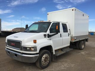 2005 GMC C5500 Crew Cab S/A Van Body Truck c/w Duramax 6.6L Diesel, Auto, A/C, 3175 KG Front Axle, 6123, KG Rear Axle, Ramp, 12' Box, 225/70R19.5 Tires. Showing 138,305 KMS. VIN 1GDE5E1255F517492