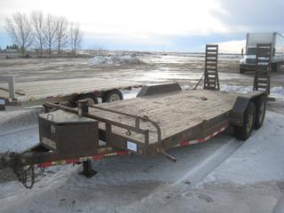 """Load Trail 16' T/A Deck Trailer c/w 2 5/16"""" Ball, Fold Up Ramps, Tool Box, 235/80R16 Tires. Unable to Verify Serial Number, 3200KG Axles."""