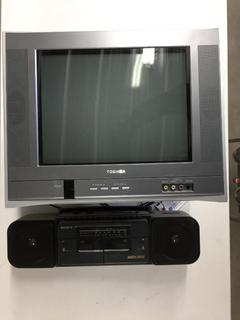 "Radio/Cassette Player & 21"" Toshiba TV."