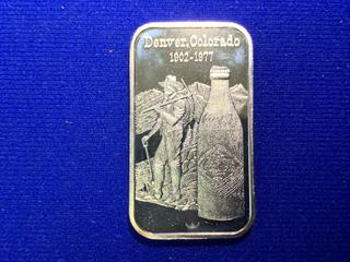 """World Wide Mint One Troy Ounce Silver Bar, """"Coca-Cola 75th Anniversary""""."""