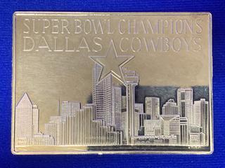 """Three Troy Ounce .999 Fine Silver Bar, """"Super Bowl XXVII""""."""