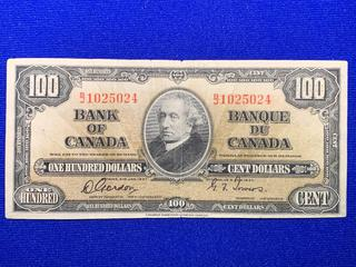 1937 Canada One Hundred Dollar Bank Note, S/N BJ1025024.