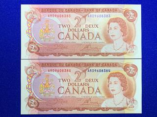 (2) Sequential 1974 Canada Two Dollar Bank Notes, Uncirculated, S/N ARD9608383 - ARD9608384.