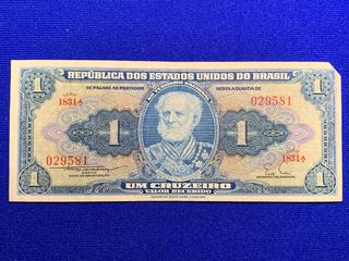 Brazil One Cruzeiro Bank Note, S/N 029581.