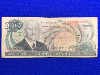 1992 Costa Rica One Hundred Colones Bank Note, S/N G18106989.