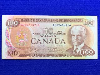 1975 Canada One Hundred Dollar Bank Note, S/N AJC9604216.