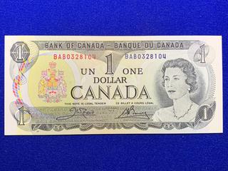 1973 Canada One Dollar Bank Note, Uncirculated, S/N BAB0328104.