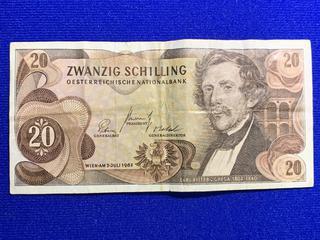 1967 Austria Twenty Shilling Bank Note, S/N A537149K.