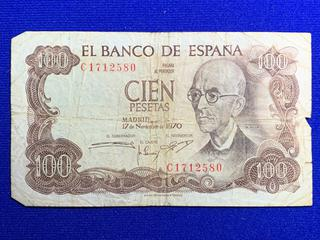 1970 Spain One Hundred Pestas Bank Note, S/N C1712580.