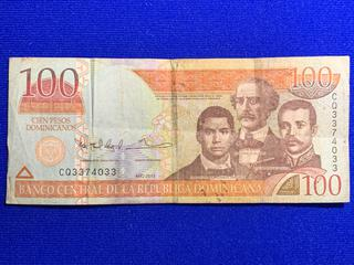 2013 Dominican Republic One Hundred Peso Bank Note, S/N CQ3374033.