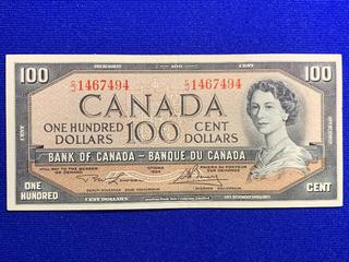 1954 Canada One Hundred Dollar Bank Note, S/N CJ1467494.
