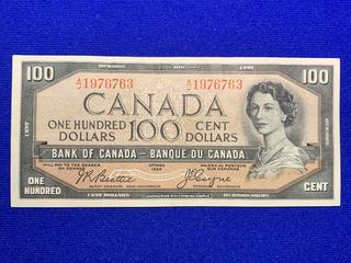 1954 Canada One Hundred Dollar Bank Note, Devil's Face, S/N AJ1976763.