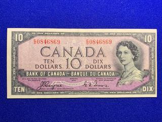 1954 Canada Ten Dollar Bank Note, Devil's Face, S/N ED0846869.