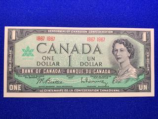 1967 Canada One Dollar Centennial Bank Note, S/N 1867 - 1967.