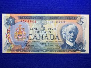 1975 Canada Five Dollar Bank Note, S/N CG4285435.