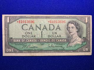 1954 Canada One Dollar Replacement Bank Note, S/N BM1013696.