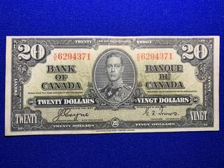 1937 Canada Twenty Dollar Bank Note, S/N KE6294371.
