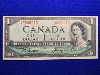 1954 Canada One Dollar Bank Note, Devil's Face, S/N SA5855275.