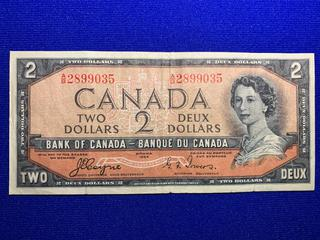 1954 Canada Two Dollar Bank Note, Devil's Face, S/N AB2899035.
