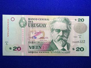 1994 Uruguay Twenty Peso Bank Note, S/N 06225322.