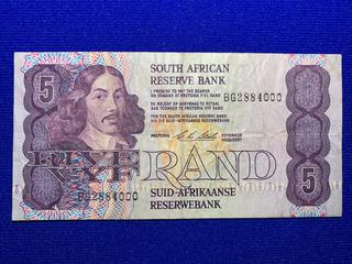 South Africa Five Rand Bank Note, S/N BG28844000.