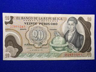 1972 Colombia twenty Peso Bank Note, S/N 22971261.