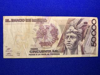1990 Mexico Fifty Thousand Peso Bank Note, S/N P3694178.