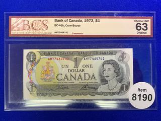 1973 Canada One Dollar Bank Note, S/N AMY7464742 (BCS Rated 63).